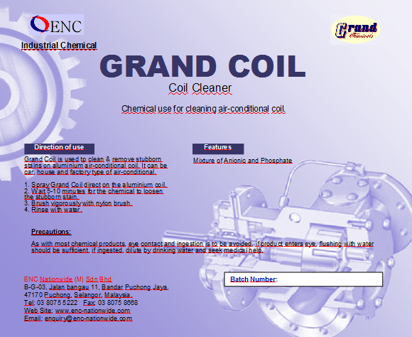 Coil Cleaner | Malaysia | Manufacturer | Distributor | Supplier